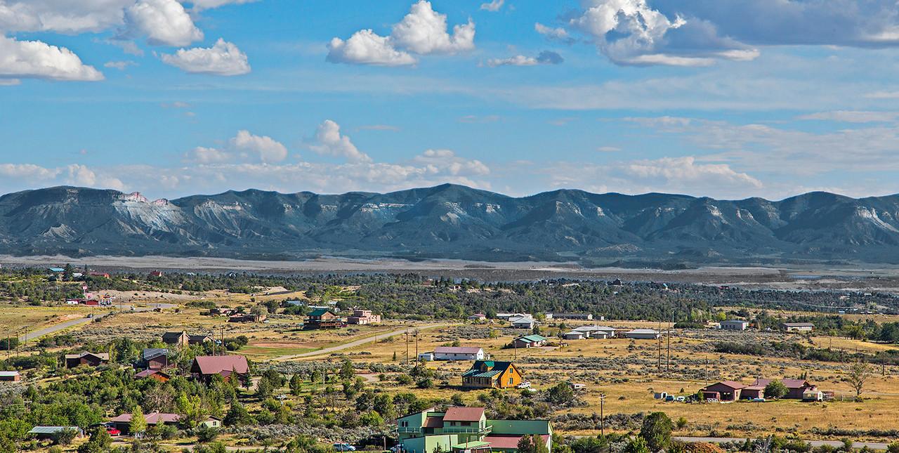 Looking from Escalante Pueblo toward the mountain range that contains Mesa Verde.