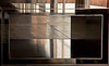 Close up, Donald Judd's installation pieces create abstract images---Marfa, TX