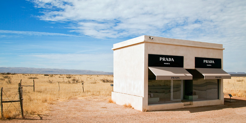 As we approached the town of Marfa, Texas, we passed this almost mirage-like structure situated on private land.