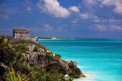 The ruins of Tulum on the coastline in Tulum, Mexico
