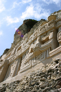 Glyphs on the side and front of El Castillo. Largest structure at Xunantunich, Cayo, Belize.