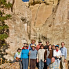 Our FOA tour group stops for its group photo. Our guide for today's visit is Matthew Barbour (kneeling), Historic Archaeologist with the Museum of New Mexico Foundation.