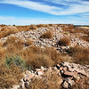 Remains of Hawikku. These stones, formerly walls of the village, were hurled onto the invaders by the Zuni defenders.