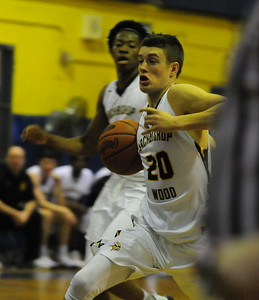 Archbishop Wood senior Matt Cerruti, 20, drives the lane in the Vikings' win over Our Saviour Lutheran in the ACC Philly vs. Everybody High School Basketball Showcase tournament Friday, Dec. 23 at Ben Franklin HS, Philadelphia, Pa. (Steve Sherman – 21st-Century Media)