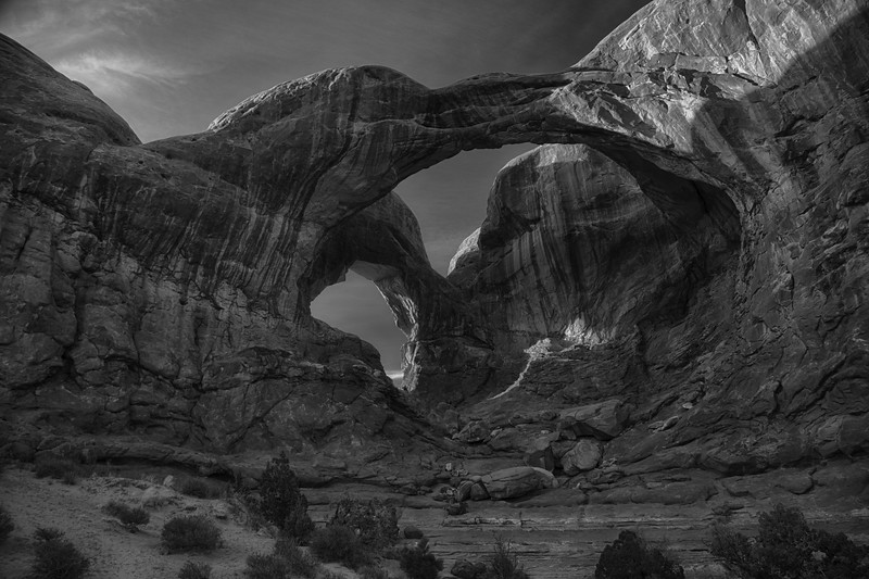 B & W Sunset at Double arch
