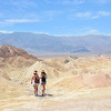 Girls hiking in the mountains desert.