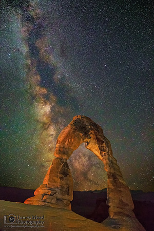 """""""Golden Illumination,"""" Delicate Arch Milky Way, Arches National Park"""