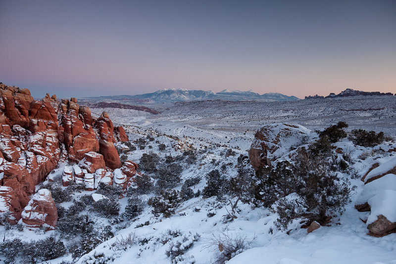 La Sal Mountains  from the Fiery Furnace in Arches NP