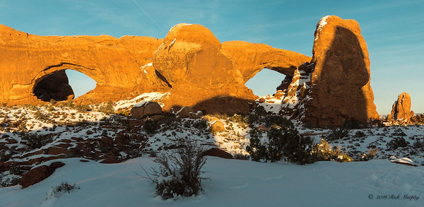 North & South Window Arches with Turret Arch Shadow, Arches National Park