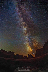 """Coyote's Nightcall,"" The Milky Way over Arches National Park, Arches National Park, Utah"