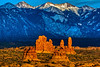 """Sandstone Formations and La Sal Mountains"""