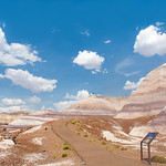 Beautiful desert mountain landscape. Petrified Forest National Park, Arizona, USA.