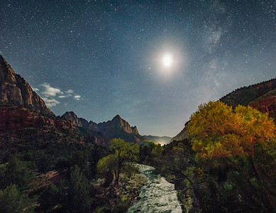 Zions at Night in Fall