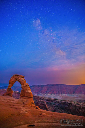 """""""Delicate Nightfall,"""" Milky Way Sunset over Delicate Arch,"""" Arches National Park, Utah"""