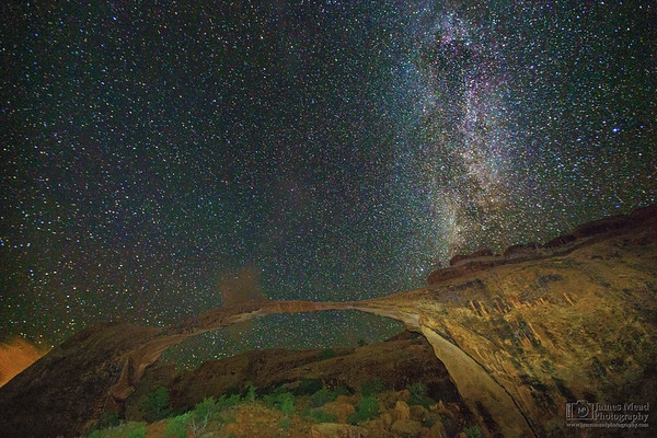 """""""Midnight Landscape,"""" The Milky Way over Landscape Arch, Arches National Park"""