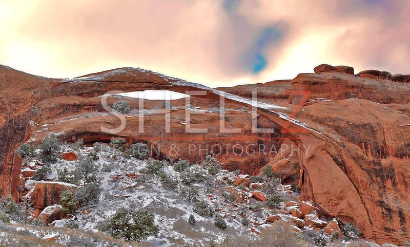 Landscape Arch Snowfall - Arches National Park, UT