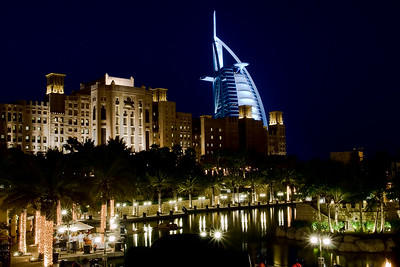 Burj Al Arab Behind Souk Madinat Jumeirah - Architecture Night photography