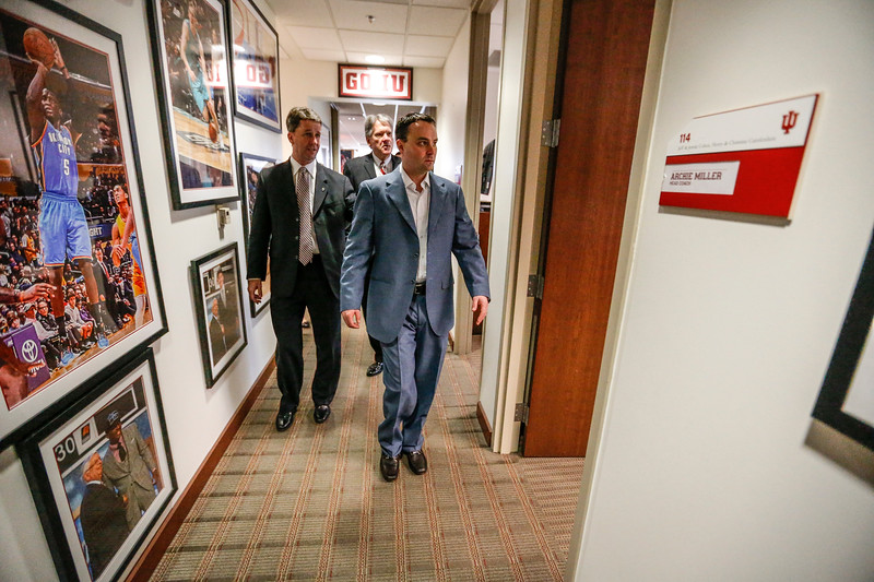 Archie Miller walks into his new office in Cook Hall for the first time with Scott Dolson and Fred Glass.