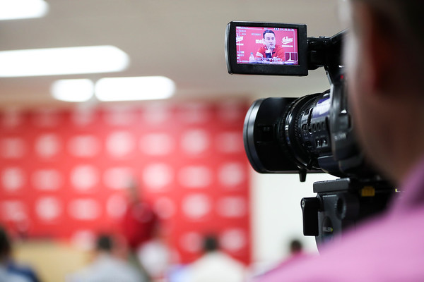 Miller is seen through a broadcasting camera during his fist fall media day on September 28th.
