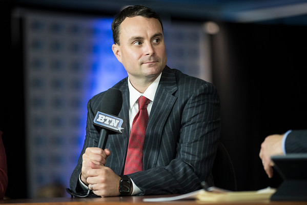 Archie Miller is seen interviewing on Big Ten Network during  B1G Media Day at Madison Square Garden in New York, NY. This would be Millers first Media Day as head coach.