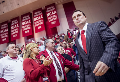 Archie Miller walks onto the court prior to an Exhibition game against U-Indy at Assembly Hall. The Hoosiers would beat the Greyhounds 74-53.