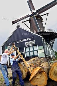 """HC - MOLENAARS HOUTZAAGMOLEN """"DE SALAMANDER"""" - Molenaars Giel de Graaf (r) en Jan Groenewegen gebruiken een """"kantelhaak"""" voor het omrollen van iepen die op de nationale monumentendag gezaagd zullen worden. - LEIDSCHENDAM 6 SEPTEMBER 2003 - FOTO: NICO SCHOUTEN"""