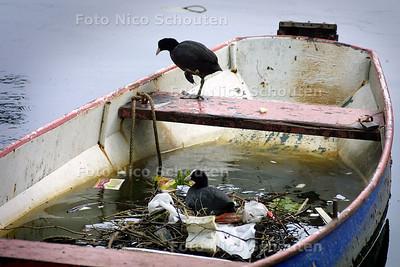 LIEFDESNEST IN LIEFDESBOOTJE - Dit meerkoetenstel koos een roeiboot voor hun nest in de gracht langs de Veenkade. De wetmatige eigenaar zal even geduld moeten hebben als hij wil gaan varen. - DEN HAAG 1 MEI 2004 - FOTO: NICO SCHOUTEN