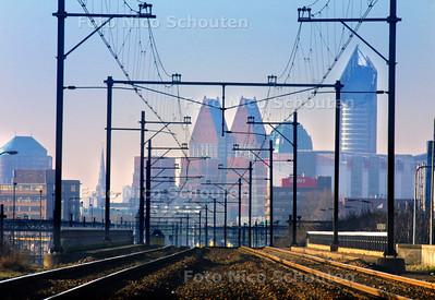 SKYLINE DEN HAAG -  Gezien vanaf Station Voorburg - VOORBURG 18 FEBRUARI 2003 - FOTO: NICO SCHOUTEN