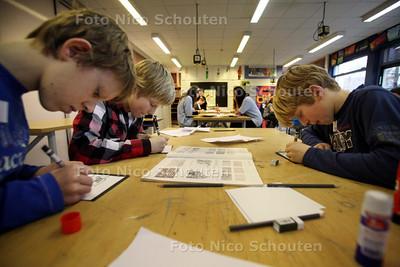 Leerlingen uit groep 8 kijken rond op het ONC om een beeld van de school te krijgen. De zogenoemde Super8dag is van 8.30 tot 15.30 uur - Grote concentratie bij het vak tekenen - ZOETERMEER 13 JUNUARI 2011 - FOTO NICO SCHOUTEN