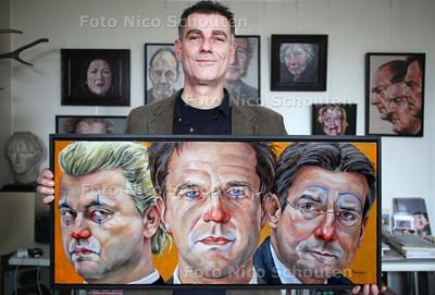 kunstenaar Remigius die een schilderij van Wilders  Rutte en Verhagen heeft gemaakt - DEN HAAG 17 FEBRUARI 2011 - FOTO NICO SCHOUTEN