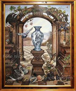 """Schilderij van Sonja van der Heijden (in Museum Het Prinsenhof) - """"I never promised you a rosegarden"""" - DELFT 9 JUNI 2011 - FOTO NICO SCHOUTEN"""