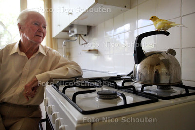 """Gerard Schouten met zijn kanarie """"Piet"""" die graag op de fluitketel zit - LEIDSCHENDAM 9 JUNI 2011 - FOTO NICO SCHOUTEN"""