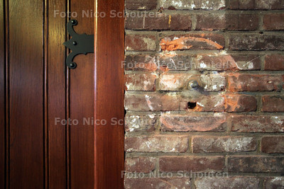 Ingebroken bij Marlotkerk - Plek waar offerblok hing in de kerkzaal  - DEN HAAG 2 JULI 2012 - FOTO NICO SCHOUTEN