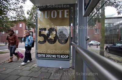 Quote maakt reclame in de Spoorwijk met de Qutoe 500, de plek waar de Quote 500 bende vandaan komt - DEN HAAG 12 NOVEMBER 2012 - FOTO NICO SCHOUTEN