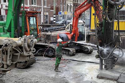 Bouwputwerkzaamheden ondergrachtse parkeergarage Noordwal/Veenkade - DEN HAAG 17 MEI 2013 - FOTO NICO SCHOUTEN