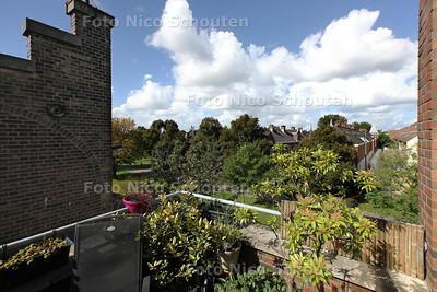 Rubriek Te Koop - Huis van Tom en Mieke Sieuwerts - Uitzicht vanaf dakterras richting hofjes en groen - DEN HAAG 16 SEPTEMBER 2013 - FOTO NICO SCHOUTEN