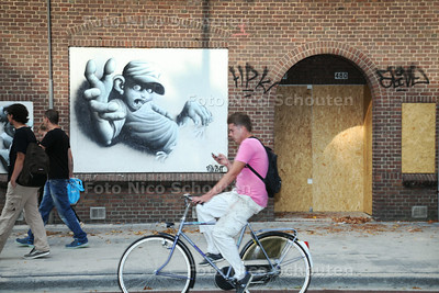 graffitywerken die drie jongens aan de Parallelweg op o.a. dichtgetimmerde  slooppanden hebben gemaakt - DEN HAAG 29 JULI 2014 - FOTOGRAFIE NICO SCHOUTEN