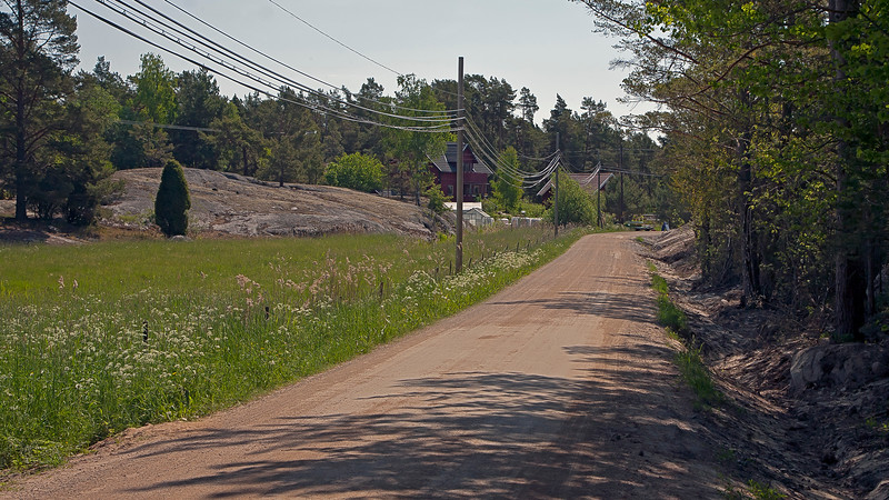 The main road in Möja, Stockholm archipelago