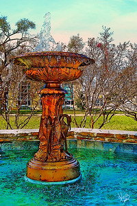 Fountain at Pioneer Memorial Library (old courthouse), Fredericksburg, TX