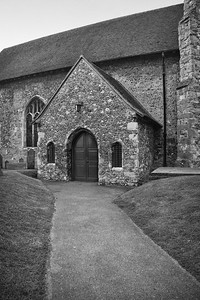 English Church Entrance BW