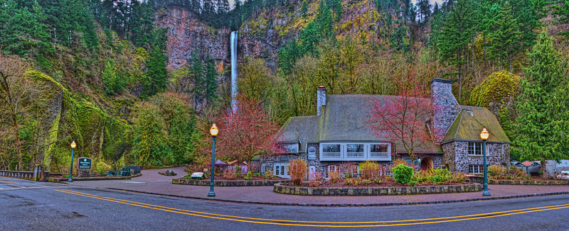 Spring has Arrived at the Historic Multnomah Falls and Lodge on the Old Columbia River Hwy Oregon.