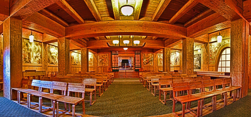 Panoramic of the Barlow Room at Timberline Lodge on Mt Hood. Oregon.