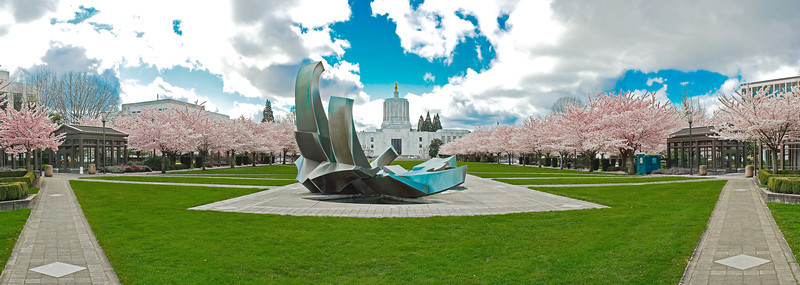 Oregon State Capitol Grounds and Cherry Blossom Trees in Full Bloom.