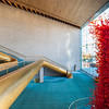 "Abravanel Hall - view into main public gallery with red glass sculpture  ""The Olympic Tower"" by Dale Chihuly"