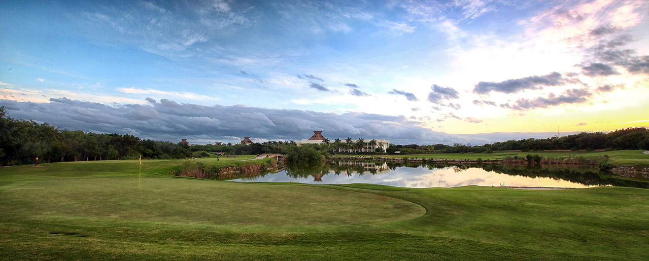 "Jack Nicklaus Golf Course - Playa del Carmen, Mexico - Winter 2014<br /> <br /> Nicklaus Design has succeeded in imprinting the seal of creative, revolutionary, and modern design of our trademark.<br /> An 18 hole par 54, that is 2,923 yards long, combines pearly white sand traps, natural stone around its two lakes, an intense color in its greens and waste areas, this golf course is truly a delight for golf enthusiasts on the Mayan Riviera. As part of the extraordinary natural panorama, the lakes and natural vegetation of the Mayan jungle surround all 18 holes as obstacles to overcome.<br /> <br /> Hole 17, Christened ""Donna-Green"", is surrounded by a lake, two sand traps on each side and one more in the center of the green. This makes it the only of its kind and turns the desired par into an even greater challenge."