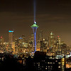 Seattle Panorama & Space Needle in Seahawks colors