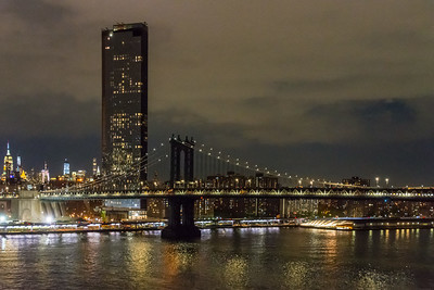 Looking uptown from the Brooklyn Bridge at night