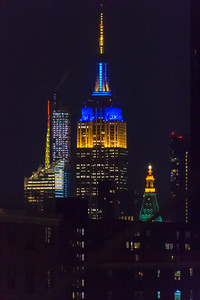 Empire State Building at night from the Brooklyn Bridge