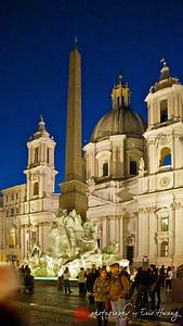 Fontana dei Quattro Fiumi in Piazza Navona in front of Palazzo Doria Pamphilj