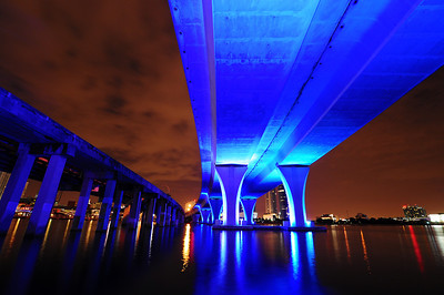 Photo By Vlad Architectural Photographer Miami.  Port of Miami Bridge at night from Biscayne Bay